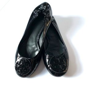 Tory Burch Black Patent Leather Ballet Flats Reva